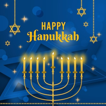 Representación del evento de hanukkah azul y dorado