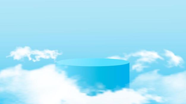 Representación de fondo azul con podio y nubes. ilustración vectorial
