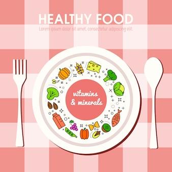 Representación de fondo de comida sana. iconos de frutas y verduras