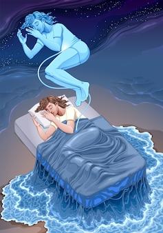 Representación de la ilustración de fantasía del estado de sueño.