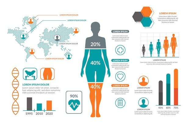 Representación médica infográfica con elementos coloridos.