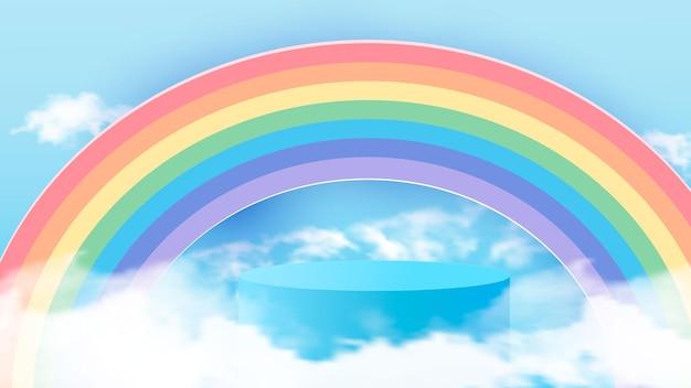 Representación mínima del producto 3d de forma geométrica, pasteles de nubes azul cielo y arco iris. ilustración