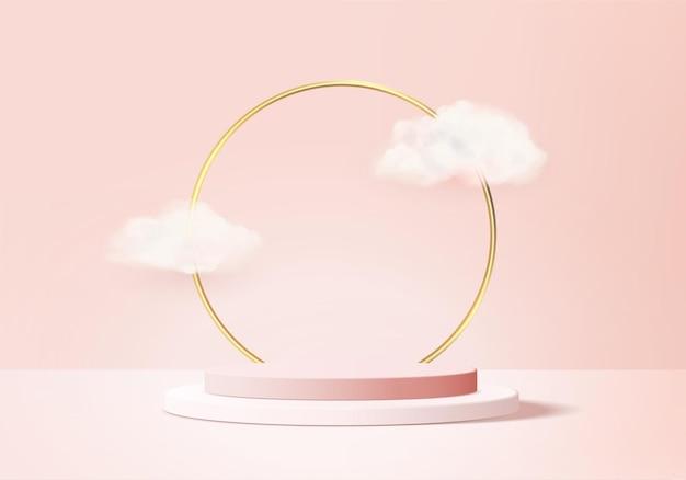 Representación rosa 3d con podio y escena de nube blanca, fondo mínimo de nube 3d