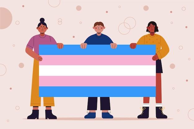 Representación transgénero de diseño plano ilustrada