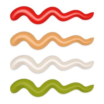 Representando tiras de salsa diferentes aisladas. mayonesa, ketchup, mostaza wasabi