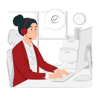 Representantes de soporte al cliente que trabajan en la ilustración del concepto de centro de llamadas