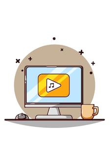 Reproducción de música en la ilustración de dibujos animados de icono de pantalla de computadora