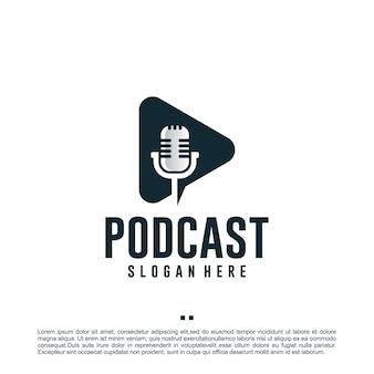 Reproducir podcast, plantilla de diseño de logotipo