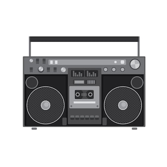 Reproductor de audio retro en una ilustración de diseño plano
