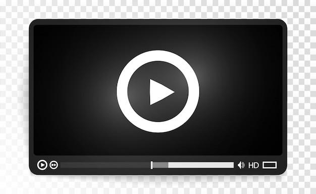 Reproductor multimedia de video interfaz para aplicaciones web y móviles ilustración vectorial eps10.