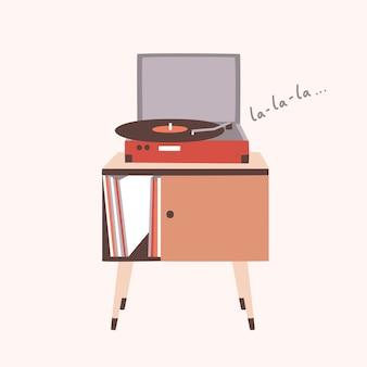 Reproductor de música analógica o tocadiscos tocando una canción o un disco de vinilo aislado sobre fondo claro. mobiliario para el hogar o dispositivo de audio antiguo. ilustración decorativa colorida en estilo plano moderno.