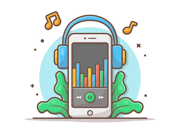 Reproductor de música en línea con auriculares y melodía y nota de ilustración de icono de vector de música. música móvil concepto de icono de tecnología y música blanco aislado