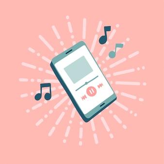 Reproductor de música en línea con nota de música. reproducción de música móvil.