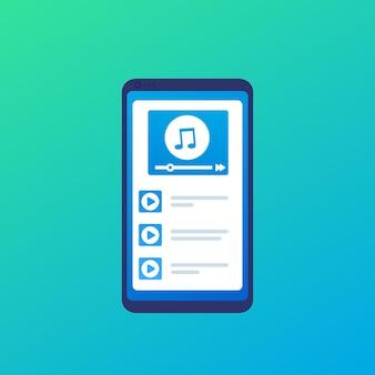 Reproductor de música con lista de reproducción en teléfonos inteligentes.