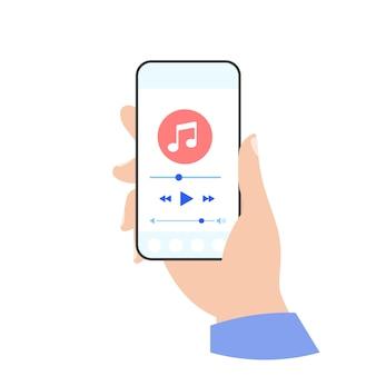 Reproductor de música del teléfono en la mano