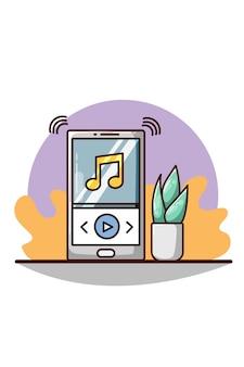 Reproductor de música en teléfonos inteligentes con ilustración de dibujos animados de plantas