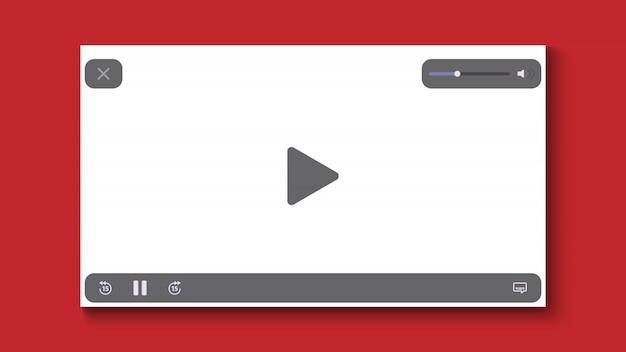 Reproductor de video de diseño plano.
