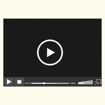 Reproductor de video fácilmente editable sobre fondo blanco,