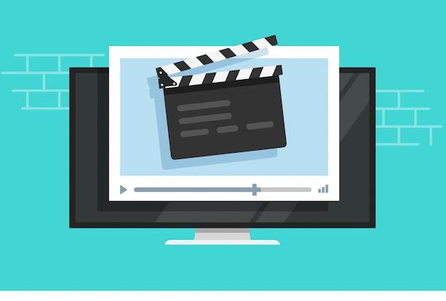 Reproductor de video de tv con claqueta de pizarra de cine o multimedia de cine de televisión