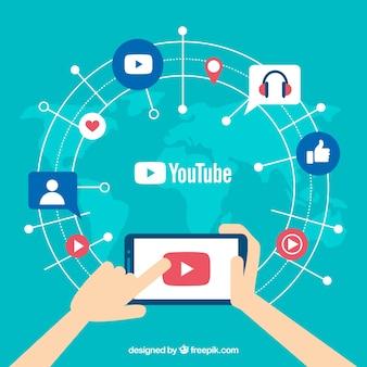 Reproductor de youtube en dispositivo con diseño plano