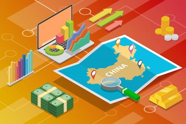 República de china prc país de crecimiento de la economía empresarial isométrica