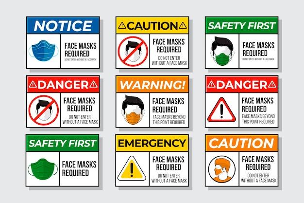 Se requiere máscara facial - colección de letreros