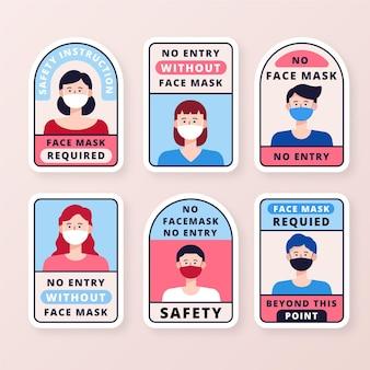Se requiere máscara facial - colección de signos
