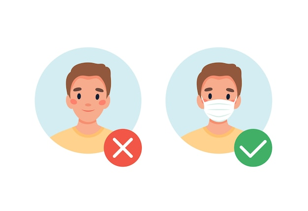 Requiere mascarilla. prohibida la entrada sin máscara. hombre con y sin mascarilla médica.