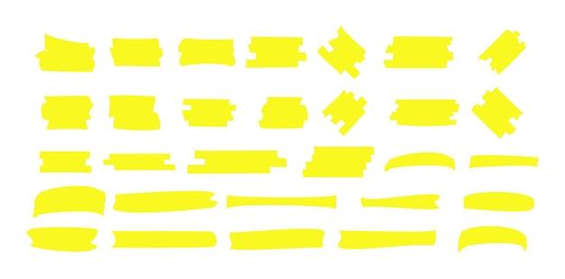 Resalte la línea amarilla del marcador. trazo de color de marcador, subrayado dibujado a mano de pincel