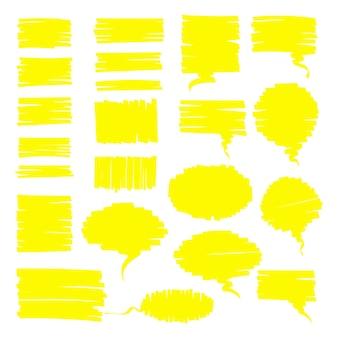 Resalte las nubes de conversación permanentes y el conjunto de cajas de notas