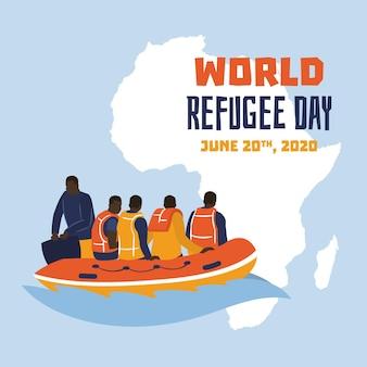 Rescate dibujado a mano día mundial de los refugiados