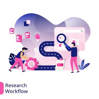 Research workflow, el concepto de hombres que buscan conceptos de trabajo para proyectos