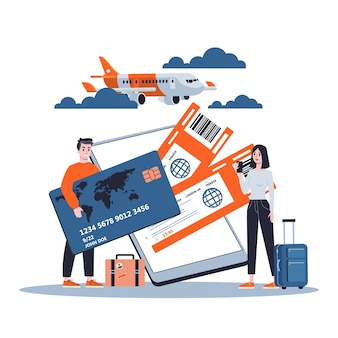 Reserva de billete de avión online en el dispositivo. concepto de vuelo y viaje. planificación de vacaciones de verano. ilustración