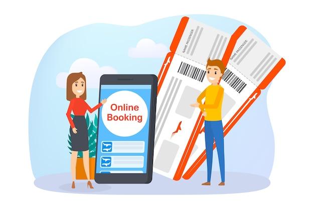 Reserva de billete de avión online en smartphone. concepto de vuelo y viaje. planificación de vacaciones de verano. ilustración