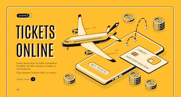 Reserva de billetes de avión en línea vector isométrico web banner