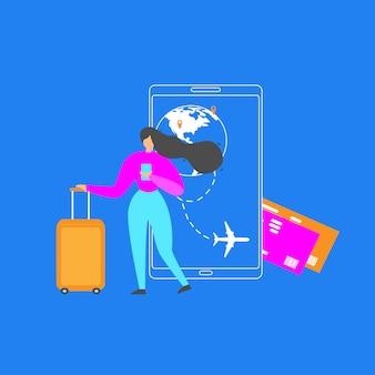 Reserva de boletos de avión con aplicación móvil plana vector