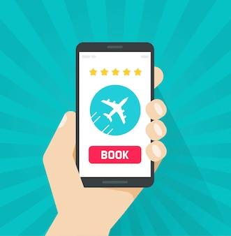Reserva de boletos de avión en línea desde internet a través de un teléfono celular o celular