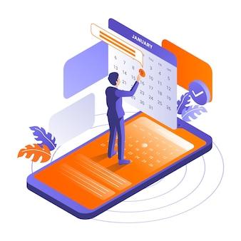 Reserva de cita isométrica con teléfono inteligente