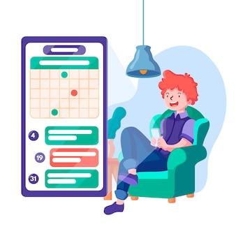 Reserva de cita con teléfono inteligente y persona