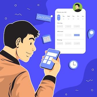 Reserva de citas con hombre y teléfono inteligente