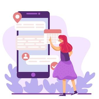 Reserva de citas con mujer en smartphone