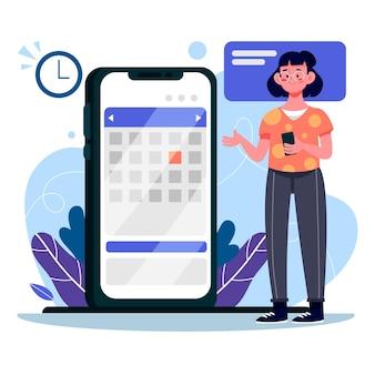 Reserva de citas con mujer y teléfono inteligente