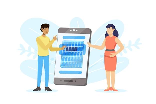 Reserva de citas con teléfono inteligente y hombre y mujer