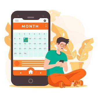Reserva de citas con teléfono inteligente y hombre