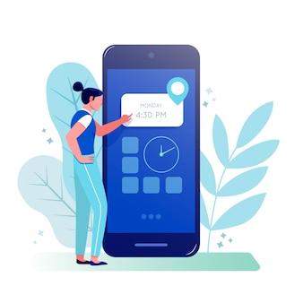 Reserva de citas con teléfono inteligente y mujer