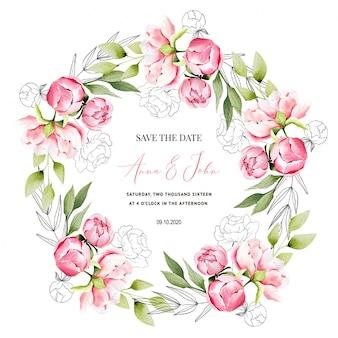 Reserva la fecha con invitación de boda de peonía