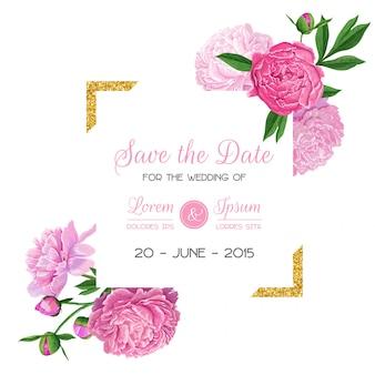 Reserva floral de la invitación de la boda la tarjeta de fecha