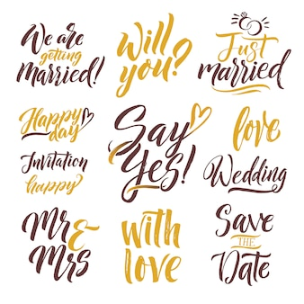 Reserva. letras dibujadas a mano. conjunto de letras con diferentes palabras de invitación.
