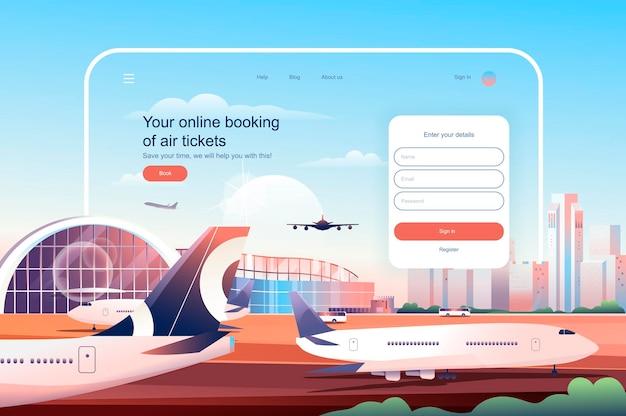Reserva en línea en la ilustración de vector de plantilla de página de aterrizaje de boletos aéreos