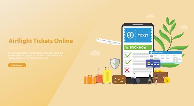 Reserva en línea o boletos de reserva para el concepto de vuelo con aplicación de teléfono inteligente para la página de inicio del aterrizaje de la plantilla del sitio web
